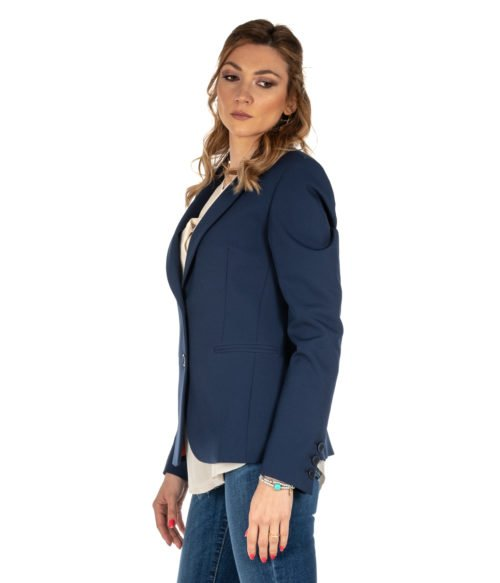 GIACCA DONNA HANITA BLU BLAZER LUNGO H.J534.1MADE IN ITALY