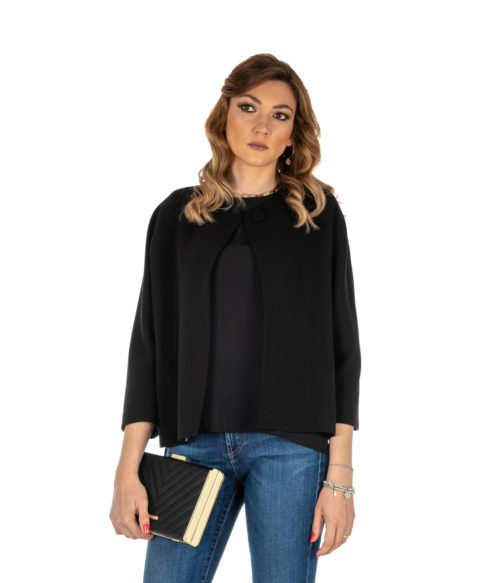 GIACCA DONNA HANITA NERO SHORT BLACK JACKET MADE IN ITALY CABAN BLACK