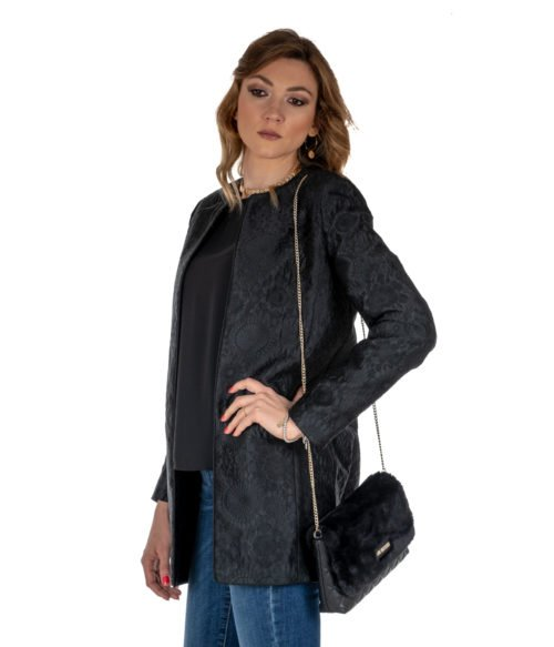 GIACCA DONNA KOCCA NERO FANTASIA JACQUARD BLACK KULDAE MADE IN ITALY JACKET WOMAN