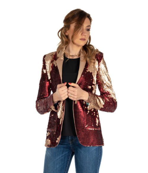 GIACCA DONNA MERCI ROSSO PAILLETTES G201PP RED AND GOLD MADE IN ITALY JACKET WOMAN