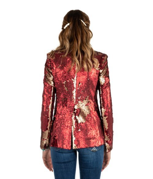 GIACCA DONNA MERCI ROSSO PAILLETTES G201PP RED AND GOLD MADE IN ITALY WOMAN