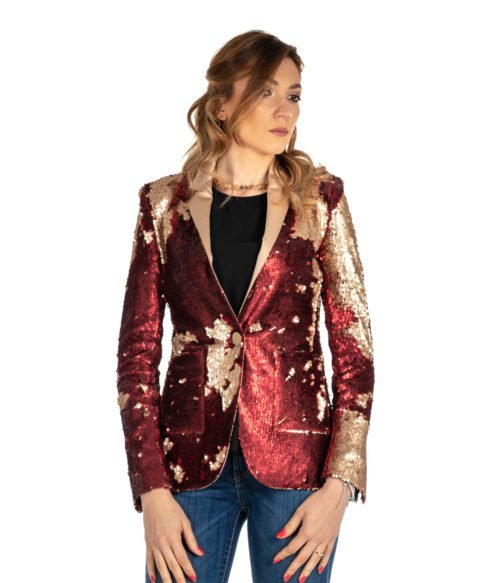 GIACCA DONNA MERCI ROSSO PAILLETTES G201PP RED AND GOLD MADE IN ITALY WOMAN JACKET