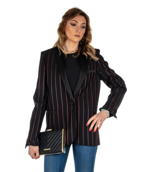 GIACCA DONNA PINKO NERO FANTASIA GESSATO LANA ZW7 BLACK MADE IN ITALY JACKET BLACK RED