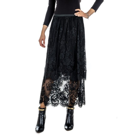 GONNA DONNA DVROMA NERA PIZZO RICAMO FLOREALE MADE IN ITALY 19400 040