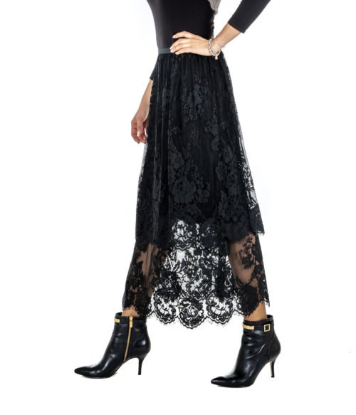 GONNA DONNA DVROMA NERA PIZZO RICAMO FLOREALE MADE IN ITALY 19400