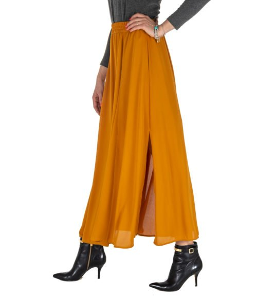 GONNA DONNA MERCI OCRA LUNGA MGN110AMBRA MADE IN ITALY SKIRT WOMAN AMBRA