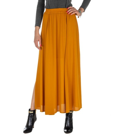 GONNA DONNA MERCI OCRA LUNGA MGN110AMBRA MADE IN ITALY WOMAN SKIRT