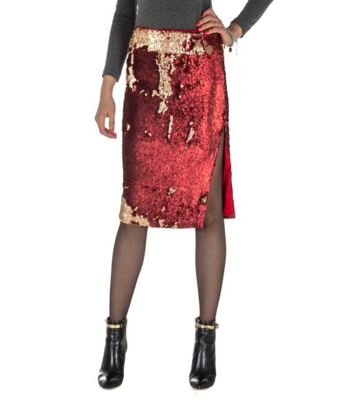 GONNA DONNA MERCI ROSSA FULL PAILLETTES LONGUETTE MADE IN ITALY BEIGE RED