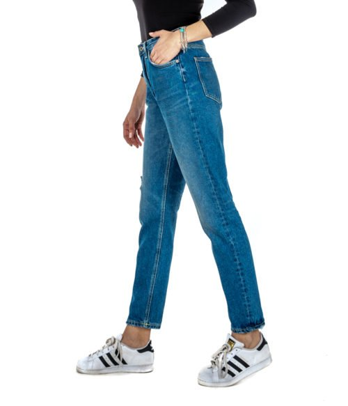JEANS DONNA DONDUP BLU DENIM PANTALONE ANYA CARROT FIT DP350 800 MADE IN ITALY