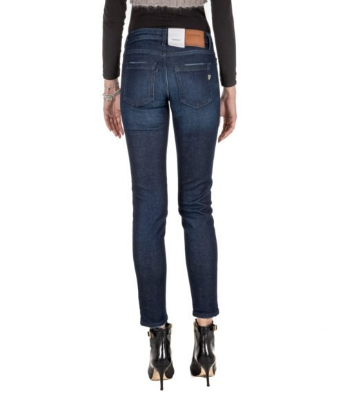 JEANS DONNA DONDUP BLU DENIM SLIM FIT PANTALONE BAKONY MADE IN ITALY DP266 800