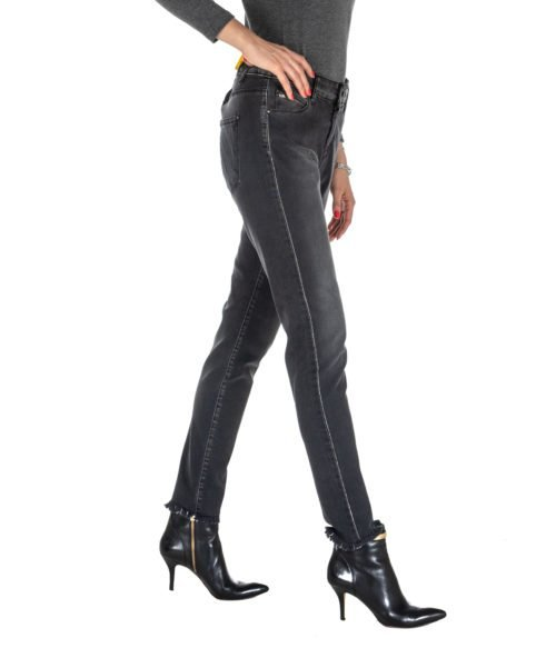 JEANS DONNA FLY GIRL GRIGIO DENIM SKINNY STRETCH MADE IN ITALY JEANS WOMAN GREY