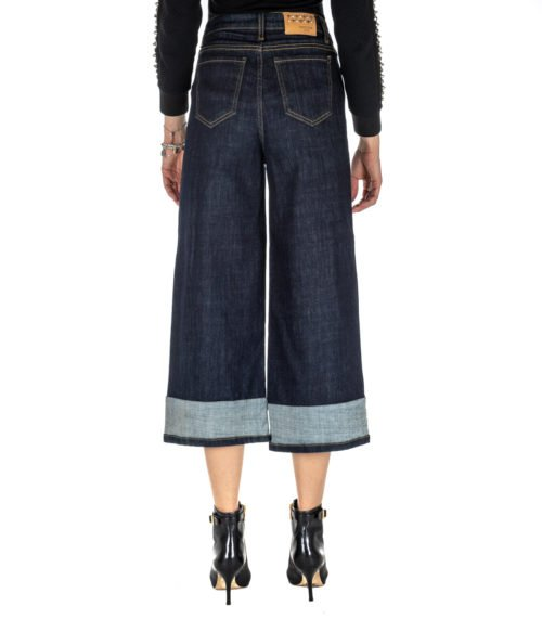 JEANS DONNA KOCCA JEANS BLU DENIM SCURO CROPPED MADE IN ITALY TUCANO
