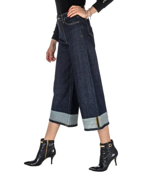 JEANS DONNA KOCCA JEANS BLU DENIM SCURO CROPPED MOD.TUCANO MADE IN ITALY