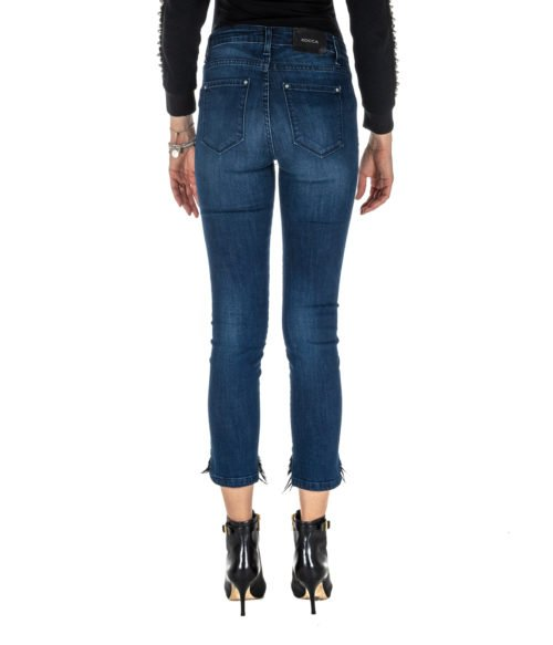 JEANS DONNA KOCCA JEANS BLU DENIM SKINNY FIT CON PIUME MADE IN ITALY