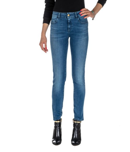 JEANS DONNA NENETTE BLU DENIM BOTTOM UP MADE IN ITALY