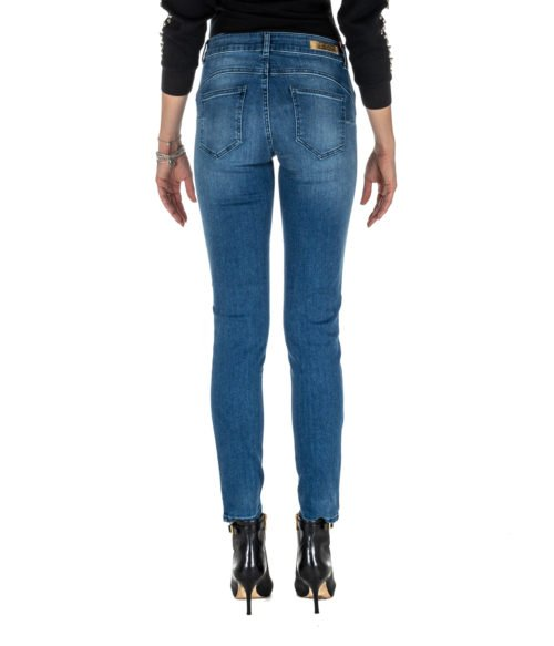JEANS DONNA NENETTE BLU DENIM BOTTOM UP SKINNY 26TJ-SOLE MADE IN ITALY