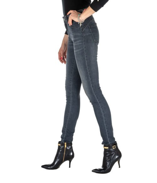 JEANS DONNA NENETTE GRIGIO DENIM BOTTOM UP 26TJ-SOLE MADE IN ITALY SKINNY