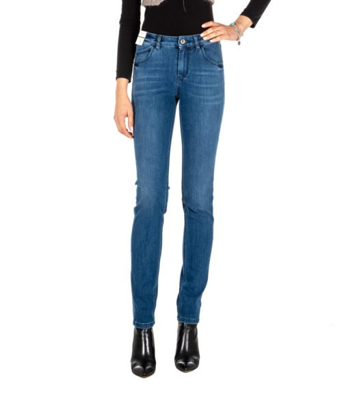 JEANS DONNA RE-HASH BLUE SKINNY PANTALONE MONICA P010 MADE IN ITALY