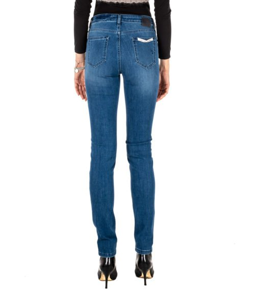JEANS DONNA RE-HASH BLUE SKINNY PANTALONE MONICA P0102 MADE IN ITALY