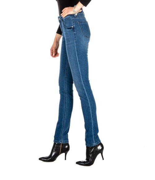JEANS DONNA RE-HASH BLUE SKINNY PANTALONE MONICA P01027 MADE IN ITALY