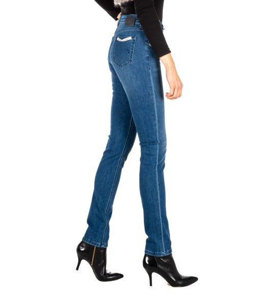 JEANS DONNA RE-HASH BLUE SKINNY PANTALONE MONICA P010276 MADE IN ITALY