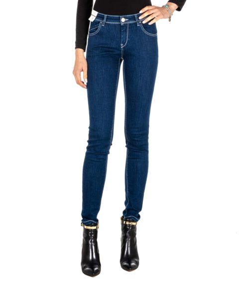 JEANS DONNA RE-HASH BLUE SKINNY PANTALONE RITA P302 264 MADE IN ITALY