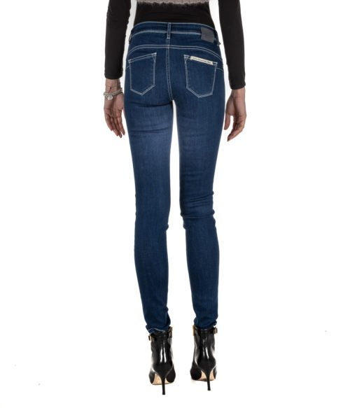 JEANS DONNA RE-HASH BLUE SKINNY PANTALONE RITA P302 MADE IN ITALY