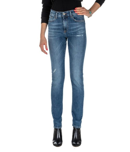 JEANS DONNA ROY ROGER'S BLU SKINNY FIT MERION WOMAN DENIM STRETCH MADE IN ITALY