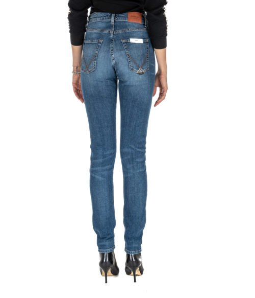 JEANS DONNA ROY ROGER'S BLU SKINNY MERION WOMAN DENIM STRETCH MADE IN ITALY