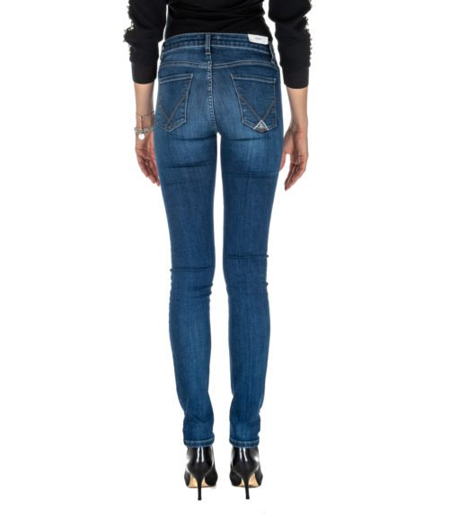JEANS DONNA ROY ROGER'S STRAIGHT FIT FLO WOMAN DENIM SUPER STRETCH MADE IN ITALY BLU