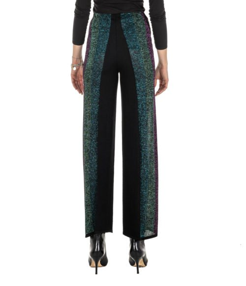 PANTALONE DONNA CIRCUS HOTEL NERO FANTASIA MAGLINA LUREX MADE IN ITALY H8AF2