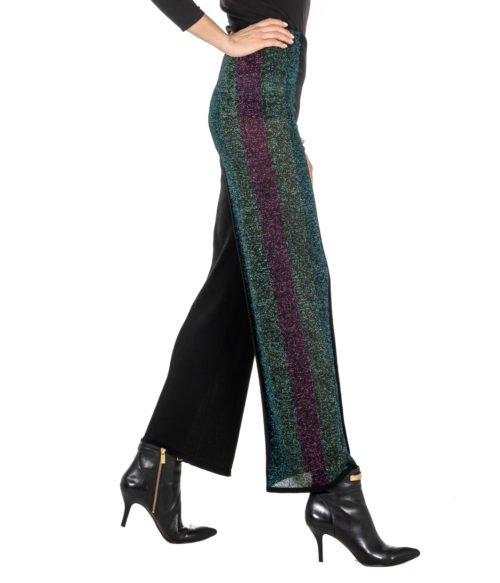 PANTALONE DONNA CIRCUS HOTEL NERO FANTASIA MAGLINA LUREX MADE IN ITALY H8AF229