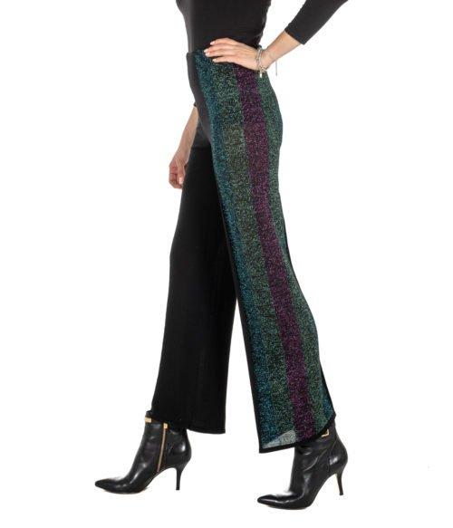 PANTALONE DONNA CIRCUS HOTEL NERO FANTASIA MAGLINA LUREX MADE IN ITALY H8AF2295