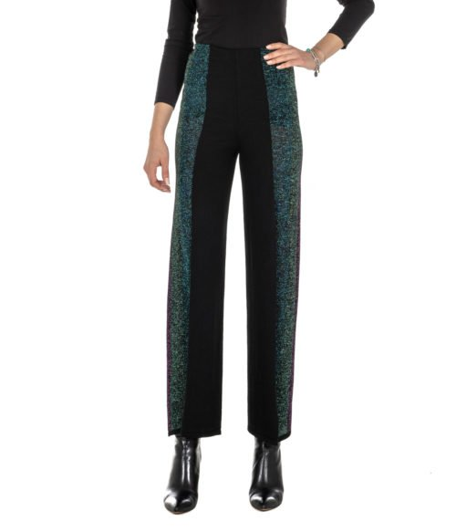 PANTALONE DONNA CIRCUS HOTEL NERO FANTASIA MAGLINA LUREX MADE IN ITALY H8AF22950