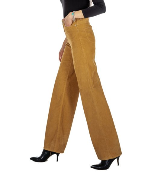 PANTALONE DONNA DONDUP CAMMELLO VELLUTO PANTALONE SUPPLY DP240 72