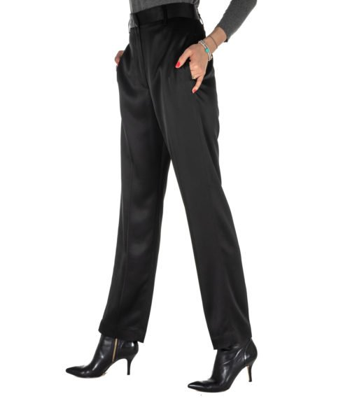 PANTALONE DONNA DONDUP NERO TIPO SETA PANTALONE CEARA MADE IN ITALY DP374 999 BLACK