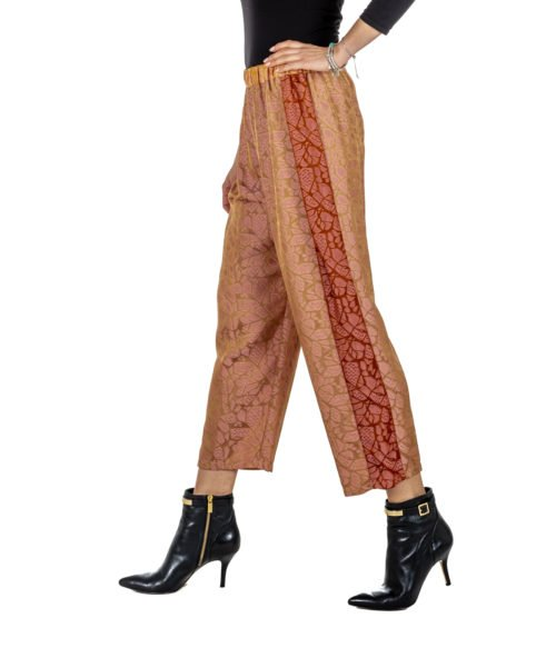 PANTALONE DONNA FORTE_FORTE ROSA FANTASIA 5724_MY PANTS MADE IN ITALY ROSA