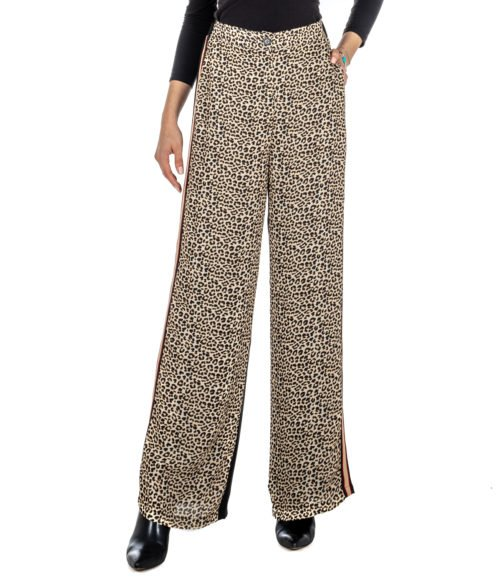 PANTALONE DONNA KAOS NERO FANTASIA ANIMALIER KIJTZ043 MADE IN ITALY