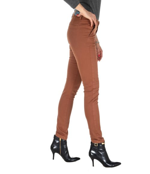 PANTALONE DONNA KOCCA COCCIO COTONE WILAREL A18 MADE IN ITALY BROWN PANTS