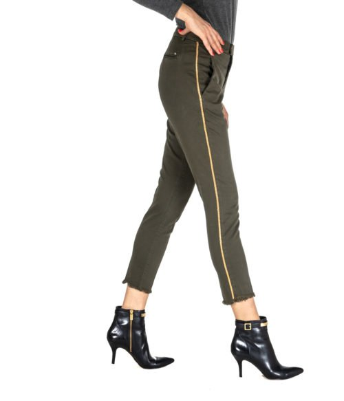 PANTALONE DONNA KOCCA VERDE MILITARE COTONE TRES A18 MADE IN ITALY GREEN PANTS