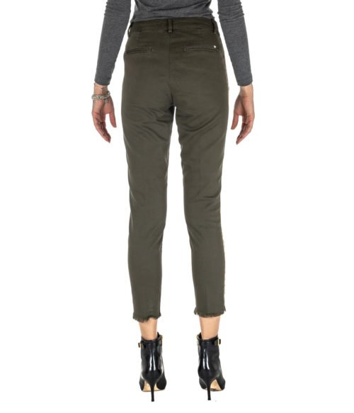 PANTALONE DONNA KOCCA VERDE MILITARE COTONE TRES A18 MADE IN ITALY GREEN PANTS WOMAN