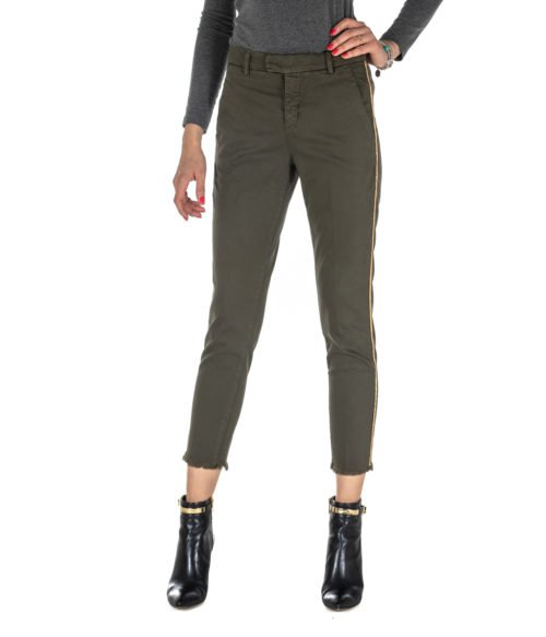 PANTALONE DONNA KOCCA VERDE MILITARE COTONE TRES A18 MADE IN ITALY PANTS