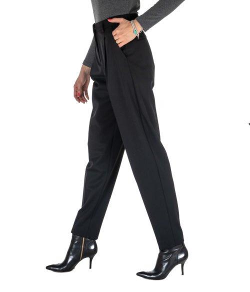 PANTALONE DONNA MAURO GRIFONI NERO LANA GD2401111 MADE IN ITALY BLACK PANTS