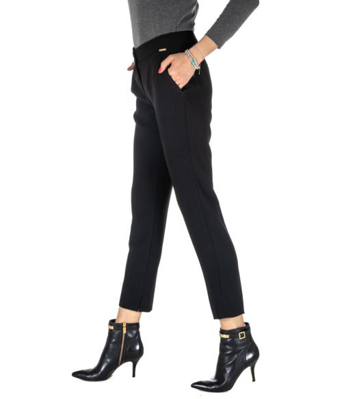 PANTALONE DONNA NENETTE NERO ADERENTE 25BB-ESPINA MADE IN ITALY BLACK PANTS