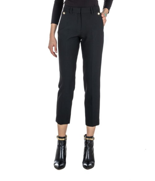 PANTALONE DONNA SPACE SIMONA CORSELLINI NERO SKINNY STRETCH BLACK