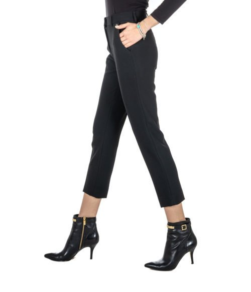 PANTALONE DONNA SPACE SIMONA CORSELLINI NERO SKINNY STRETCH PANTS WOMEN