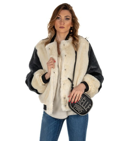 PELLICCIA DONNA GAELLE BIANCO GBD2980 FUR BOMBER WOMAN MADE IN ITALY