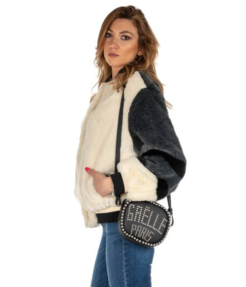 PELLICCIA DONNA GAELLE BIANCO GBD2980 FUR BOMBER WOMAN MADE IN ITALY BLACK