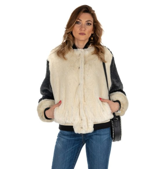 PELLICCIA DONNA GAELLE BIANCO GBD2980 FUR WOMAN BOMBER MADE IN ITALY