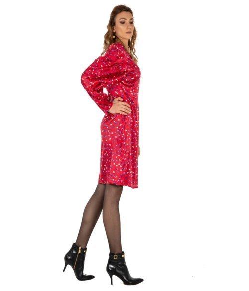 ABITO DONNA ATTIC AND BARN ROSSO SETA FANTASIA STEWART DRESS ATDR006 3010